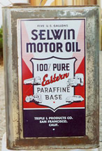 5 Gallon Early Square Motor Oil Can - Selwin